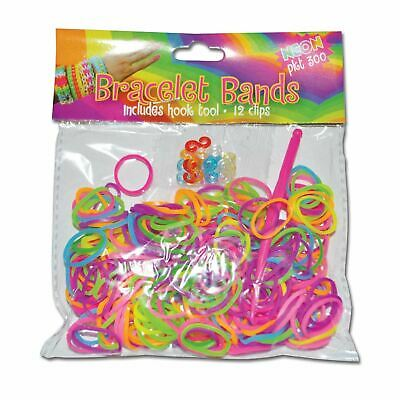 300 Bright Neon Multi Colour Bracelet Loom Bands Hook Tool and Clips