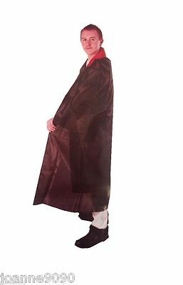 Mens Adult Black Velvet Vampire Dracula Halloween Fancy Dress Costume Cape Cloak