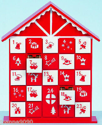 32Cm Wood Wooden Christmas Traditional House Shaped Nordic Advent Calendar Xmas