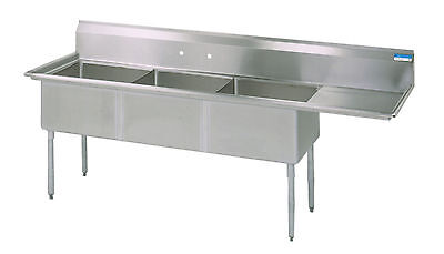 Commercial Stainless Steel (3) Three Compartment Sink 98.5 x 30 New