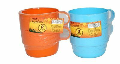 Pack Of 2 Thick Plastic Coffee Tea Cups Mugs - Camping Travel Picnic Ry691