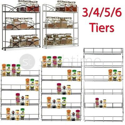 3/4/5/6 Tier Spice Herb Jar Rack Holder For Kitchen Door Cupboard Storage / Wall