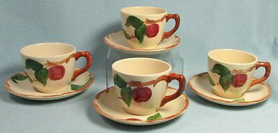 Franciscan APPLE  -- 4 CUPS & SAUCERS --  Black Television Mark / 1970s
