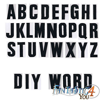 Black Diy Letter English Alphabet School Sew Applique Embroidered Iron On Patch