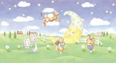 "New Wallsdecor Cow Jumped Over The Moon Nursery Wall Border Oversized 12"" High"