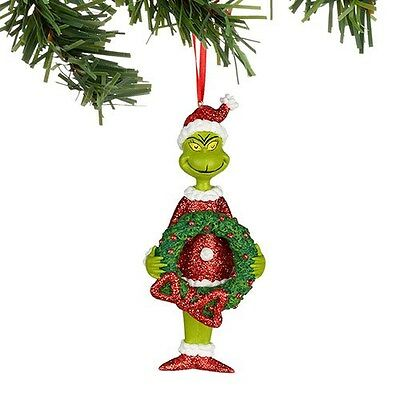 Dept 56 The Grinch With Wreath Ornament