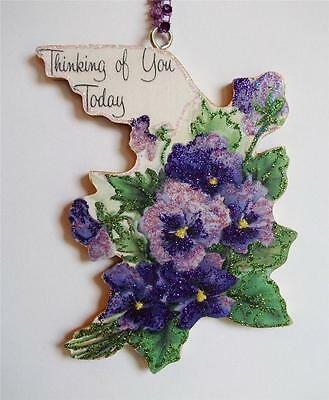 New Purple Pansies THINKING OF YOU ORNAMENT Vintage Greeting Card Image