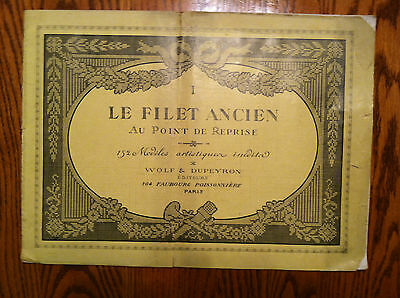 "Filet Ancien #1  French Needle Lace Design Book 12"" x 16 1/2"""