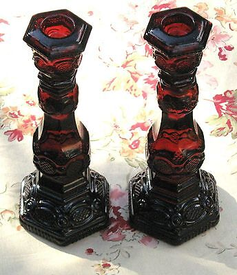 Avon 1876 Cape Cod Set Of Ruby Red Cranberry Glass Candlesticks Without Cologne