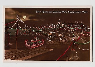 RPPC,Blackpool,U.K.Gynn Square & Gardens,N.S.at Night,Lancashire,Used,1927