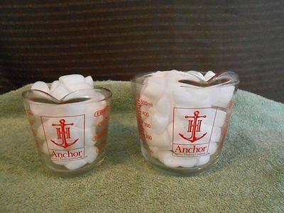 2 Anchor Hocking Glass Red Lettering Liquid Measuring Cups 1 Cup & 2 Cup