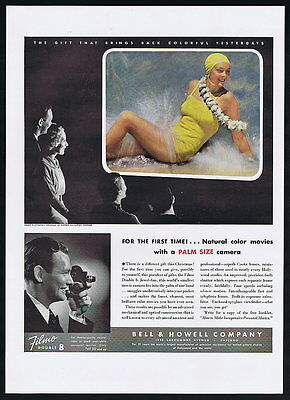 1936 Bell Howell Filmo Double 8 Movie Camera Woman Swimsuit Print Ad