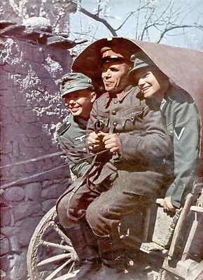 WWII Color Photo Russian POW with German Troops on Wagon  WW2 World War  / 1115