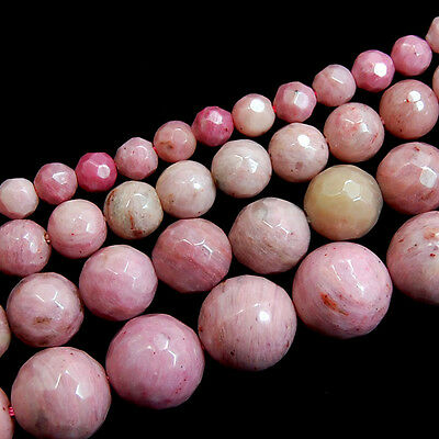 """Natural Rhodonite Gemstone Faceted Round Beads 15.5"""" 4mm 6mm 8mm 10mm"""
