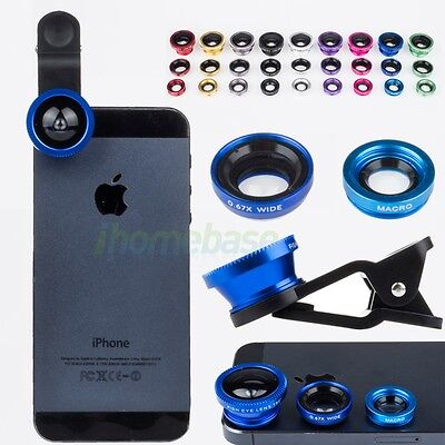 Detachable 3in1 Wide Angle +Macro+Fish Eye Clip Lens for Cellphones Mobile Phone