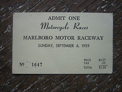 vintage Motorcycle Races Ticket Marlboro Motor Raceway 1959 Racing Harley