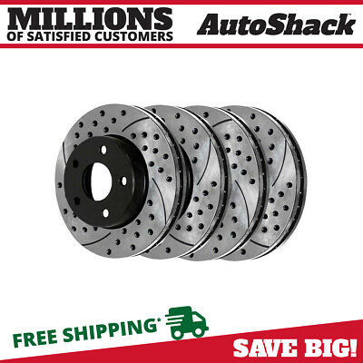 FRONT REAR SET Performance Cross Drilled Slotted Brake Disc Rotors TBS12998