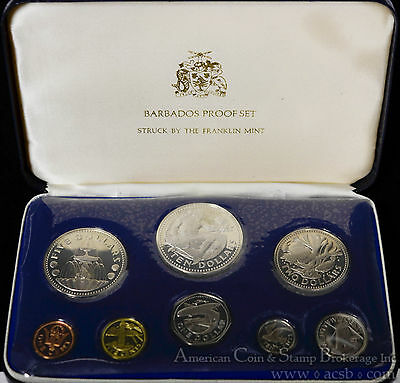 Barbados 1974 KM#PS2 8 Coin (2 Silver) Proof Set Original Case COA As Issued.