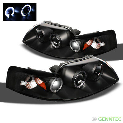 For 1999-2004 Ford Mustang Dual Halo Projector Headlights Blk Head Lights Lamp