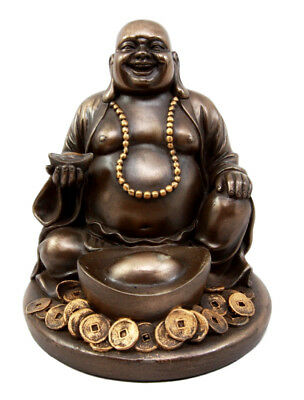 LUCKY BUDDHA SITTING WITH GOLDEN NUGGET ON PALM SCULPTURE ENLIGHTENMENT