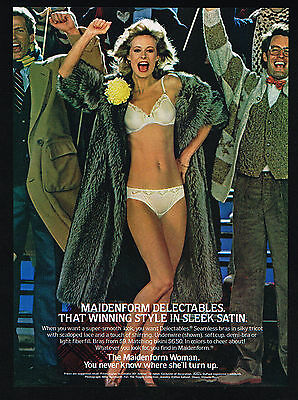 1983 Maidenform Lingerie Delectable Bra Panty Woman Football Game Photo Print Ad