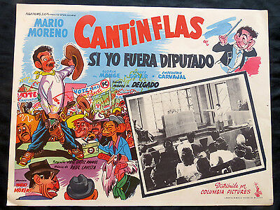 """si Yo Fuera Diputado"" Cantinflas N Mint Great Caricature Lobby Card 1951"