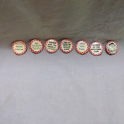 Lot 7 Vintage 1920's-30's Humorous Pinbacks, All Related, Very Nice, Free Ship