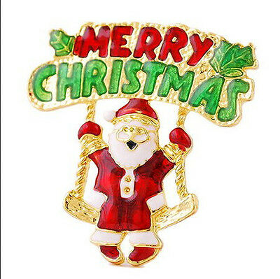 New Merry Christmas Letter Santa Claus Gold Brooch Pin Enamel Wedding Party Gift