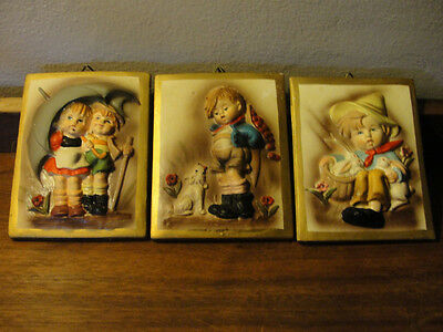 Chalkware wall hangings, Japan, Norleans, set of 3 children images, old