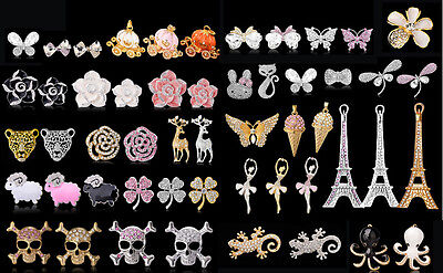 3D DIY Case Deco Alloy Bling Gems Rhinestones Bead for iPhone Phone Scrapbook #A