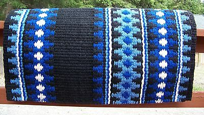 Catalina Show Blanket - 38x34 (Black Base/Blue Accents) by Mayatex