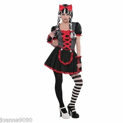 Teen Girls Gothic Ragdoll Goth Doll Halloween Fancy Dress Costume + Accessories