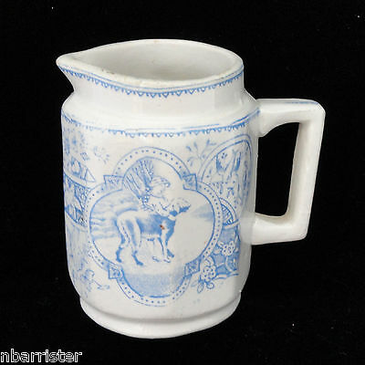Childs Country Blue Staffordshire Creamer GIRL with BIG DOG Allerton c1880
