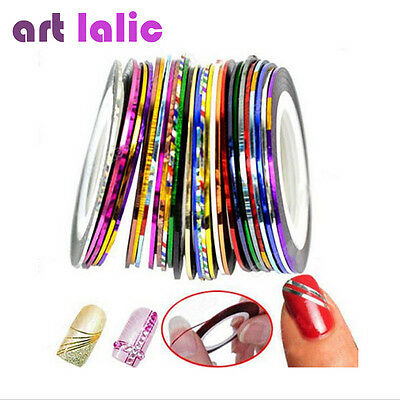 30pcs Mixed Colors Rolls Striping Tape Line Nail Art Tips Decoration Sticker Hot