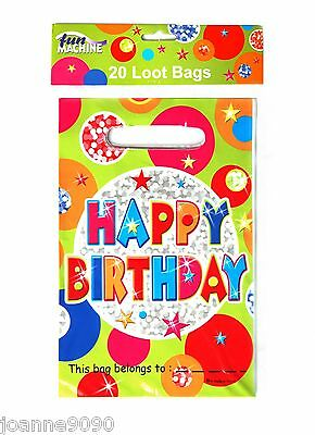 Pack Of 20 Happy Birthday Kids Party Bag Partyware Hanging Decoration Loot Bags