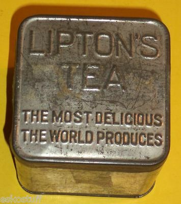 Small Lipton Tea 1930s Tin Can with Tea Nice Graphics! Nice See!