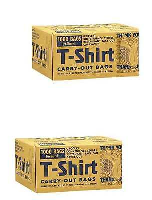 2 PACK 1000 T-Shirt Carry Out Plastic Bags Recyclable Retail Grocery Shopping
