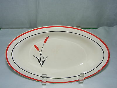 "Vintage Universal Cambridge China Red Cattail 9"" Relish Tray Black Line"