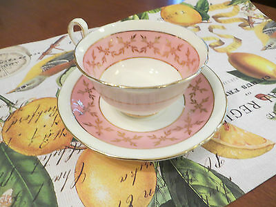 Vintage Aynsley Pink and White Tea Cup and Saucer with Gold Gilding