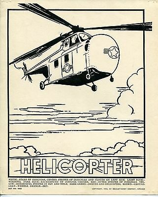 1952 Vintage Large Coloring Card: HELICOPTER