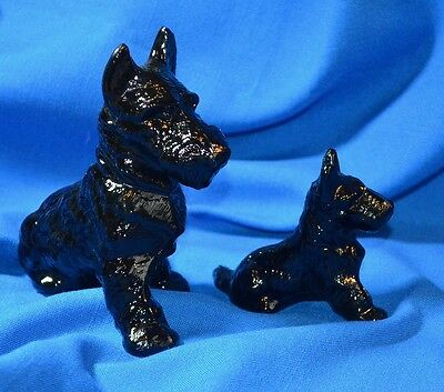 Scotty Dog Figurines ~ Quality and Beautiful Black Glass ~ Made in USA