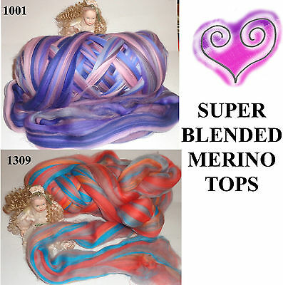 1309 &1001  Merino Tops Super Colour Blend Spinning Fibre Art