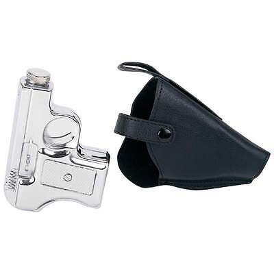 2 PC 6 oz Pistol Shaped Whiskey Flask & Faux Leather Gun Holster Screw Cap Lid