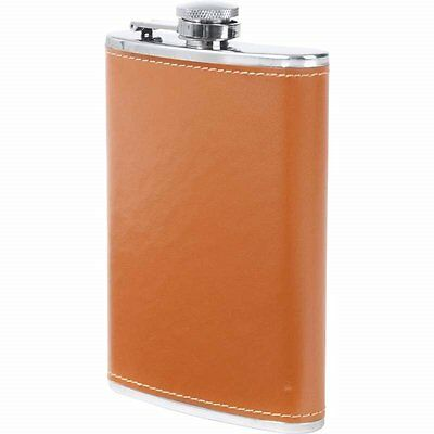 8 oz Stainless Steel Pocket Hip Flask Screw Down Cap Brown Tan Faux Leather Wrap