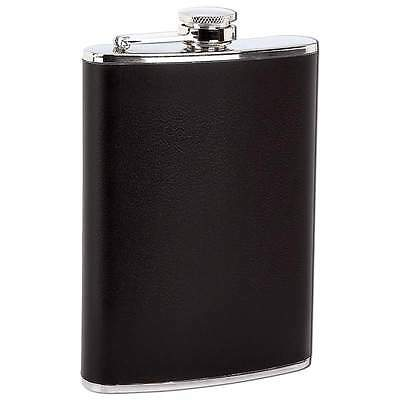 New 8 oz Solid Stainless Steel Pocket Hip Flask Screw Down Cap Lid Black Wrap
