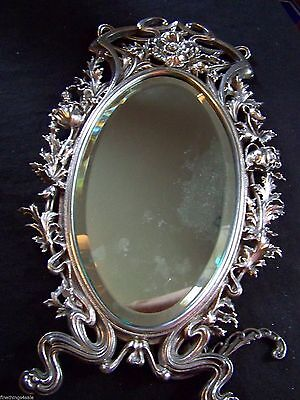 Ornate Silver Over Bronze Heavy Dressing Table Mirror  - True Art Nouveau Style