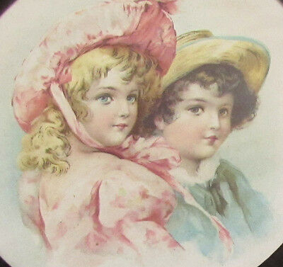 Antique Kids Lithograph In Orig Round Frame Old Pipe Cover Picture **Sale**  M45