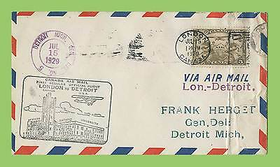 Canada 1929 Flight Cover,  London - Detroit