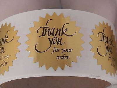 "Thank You For Your Order Sticker Label 1 1/2"" Starburst bright gold bkgd 250/rl"