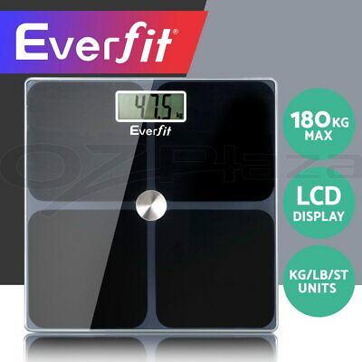 Everfit Digital Body Fat Scale Bathroom Gym Weight Glass Water LCD Electronic